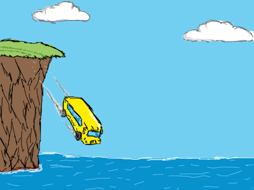 Car Driving By The Cliff