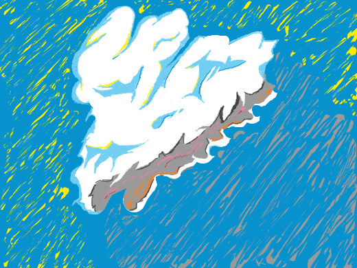 Sad cloud wonders the sky looking for a friend