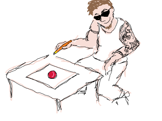 Cool guy draws rubber ball.
