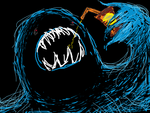 A demonic pac-man ghost drinks juice from a pac-man juice box.