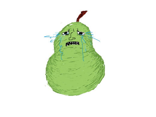 A pear is crying