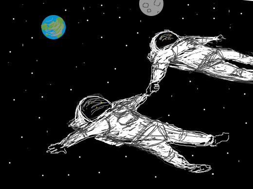 two people holding hands in space