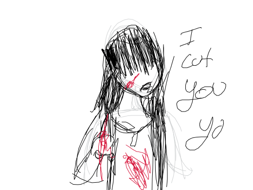 A ghost girl wielding a pair of bloody scissors. She wears a tattered red dress and her hair is long black with bangs that cover her face.