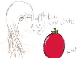 Girl asking out a sentient apple.