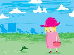 a hopping frog standing next to a woman in a dress with a fluffy hat