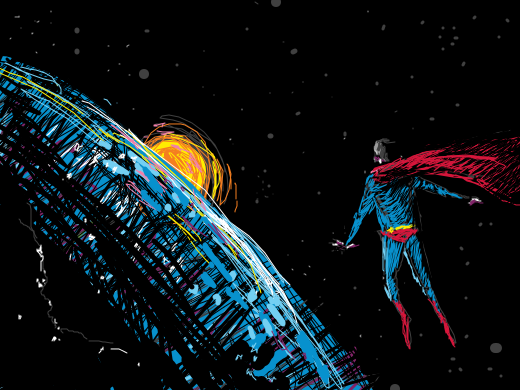 Superman frozen in space and seeing the lights coming from earth