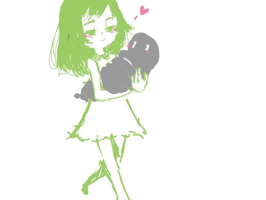 Girl in green dress holding a giant leech walks forward.