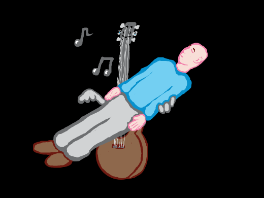 A guitar playing a person.