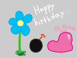 a blue flower hands an ignited bomb to unsuspecting pink blob